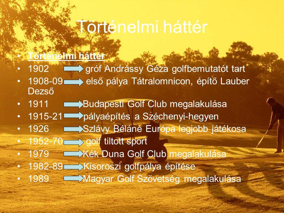 Történelmi háttér 1902 gróf Andrássy Géza golfbemutatót tart 1908-09 első pálya Tátralomnicon, építő Lauber Dezső 1911 Budapesti Golf Club megalakulása 1915-21 pályaépítés a Széchenyi-hegyen 1926 Szlávy Béláné Európa legjobb játékosa 1952-70 golf tiltott sport 1979 Kék Duna Golf Club megalakulása 1982-89 Kisoroszi golfpálya építése 1989 Magyar Golf Szövetség megalakulása