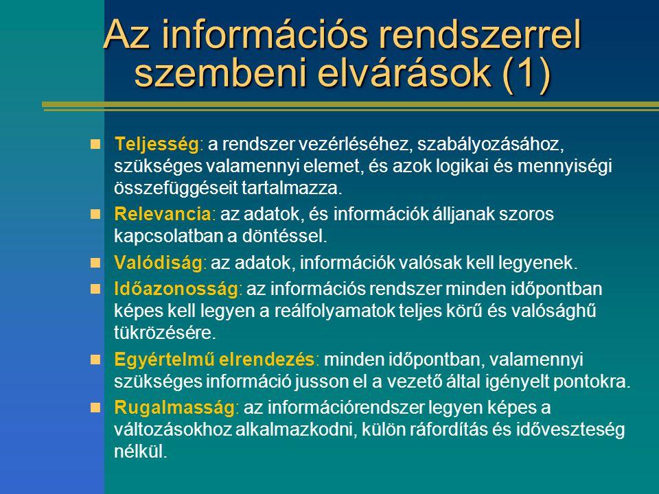 Az információs rendszerrel szembeni elvárások (1) Teljesség: a rendszer vezérléséhez, szabályozásához, szükséges valamennyi elemet, és azok logikai és