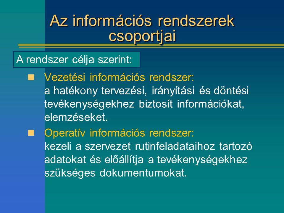 Az információs rendszerek csoportjai Vezetési információs rendszer: a hatékony tervezési, irányítási és döntési tevékenységekhez biztosít információka