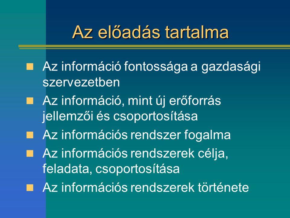 Az előadás tartalma Az információ fontossága a gazdasági szervezetben Az információ, mint új erőforrás jellemzői és csoportosítása Az információs rend