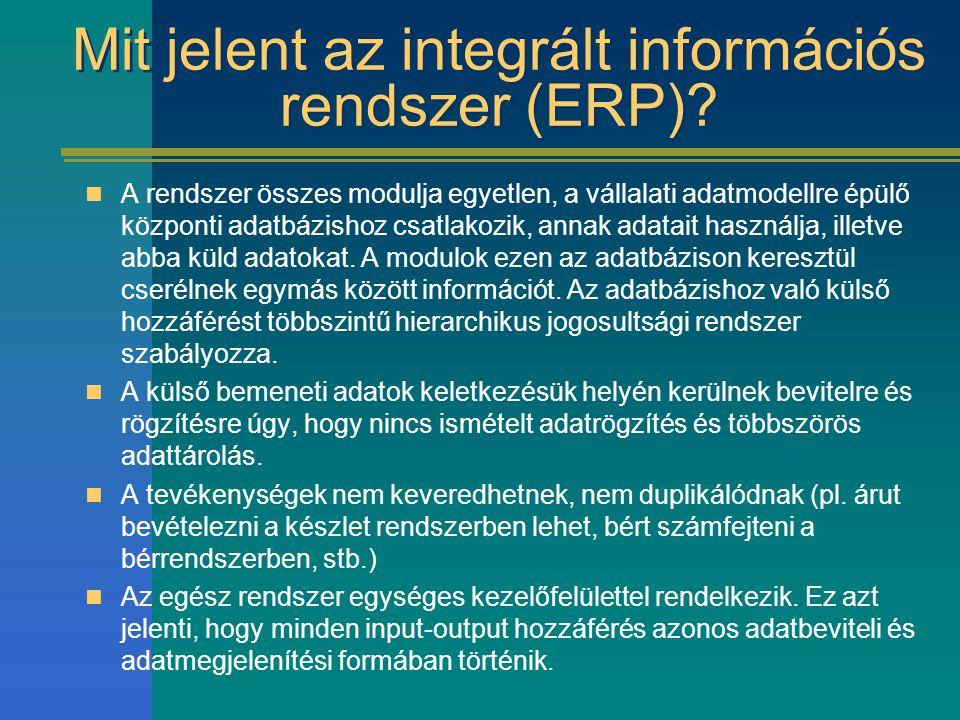 Mit jelent az integrált információs rendszer (ERP)? A rendszer összes modulja egyetlen, a vállalati adatmodellre épülő központi adatbázishoz csatlakoz