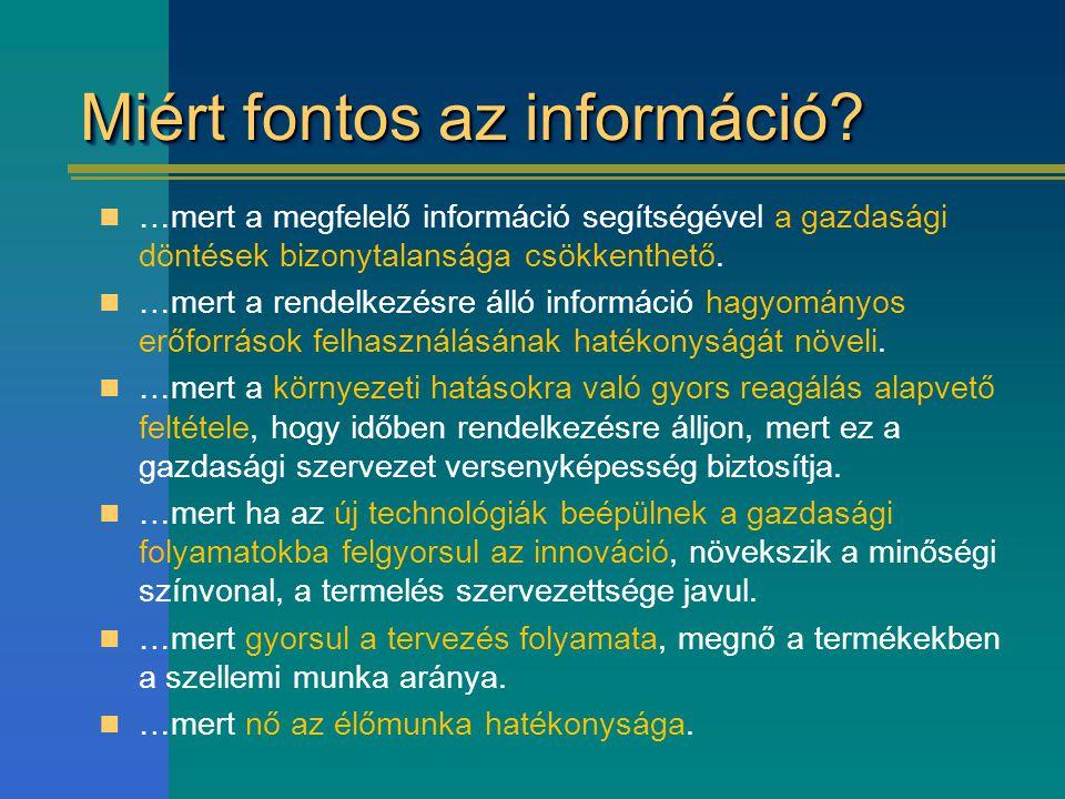 Miért fontos az információ? …mert a megfelelő információ segítségével a gazdasági döntések bizonytalansága csökkenthető. …mert a rendelkezésre álló in