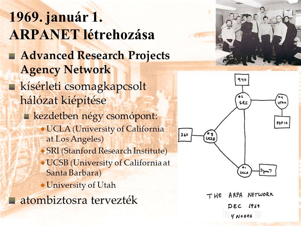 1969. január 1. ARPANET létrehozása Advanced Research Projects Agency Network kísérleti csomagkapcsolt hálózat kiépítése kezdetben négy csomópont: UCL