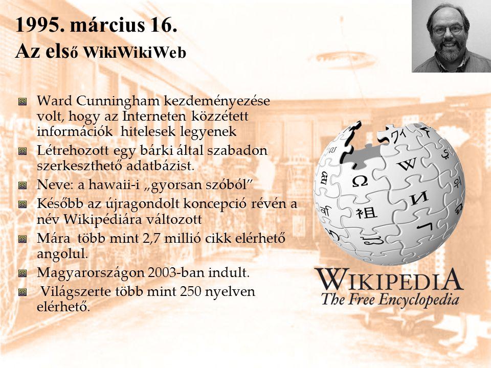 1995. március 16. Az els ő WikiWikiWeb Ward Cunningham kezdeményezése volt, hogy az Interneten közzétett információk hitelesek legyenek Létrehozott eg