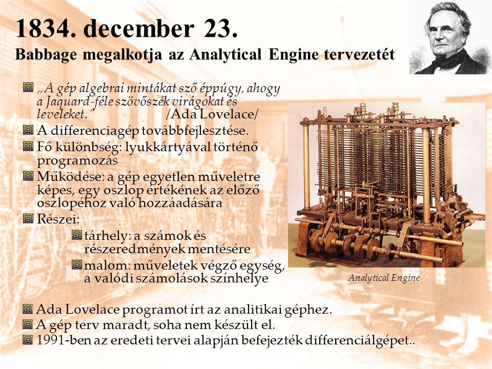 """1834. december 23. Babbage megalkotja az Analytical Engine tervezetét """"A gép algebrai mintákat sző éppúgy, ahogy a Jaquard-féle szövőszék virágokat és"""