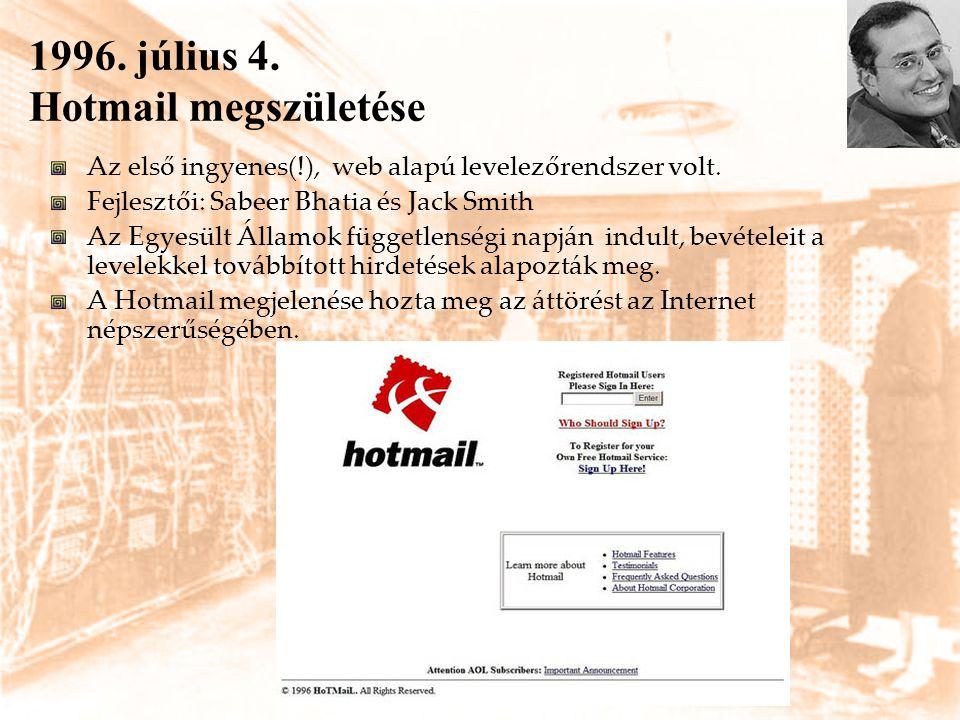 1996. július 4. Hotmail megszületése Az első ingyenes(!), web alapú levelezőrendszer volt. Fejlesztői: Sabeer Bhatia és Jack Smith Az Egyesült Államok
