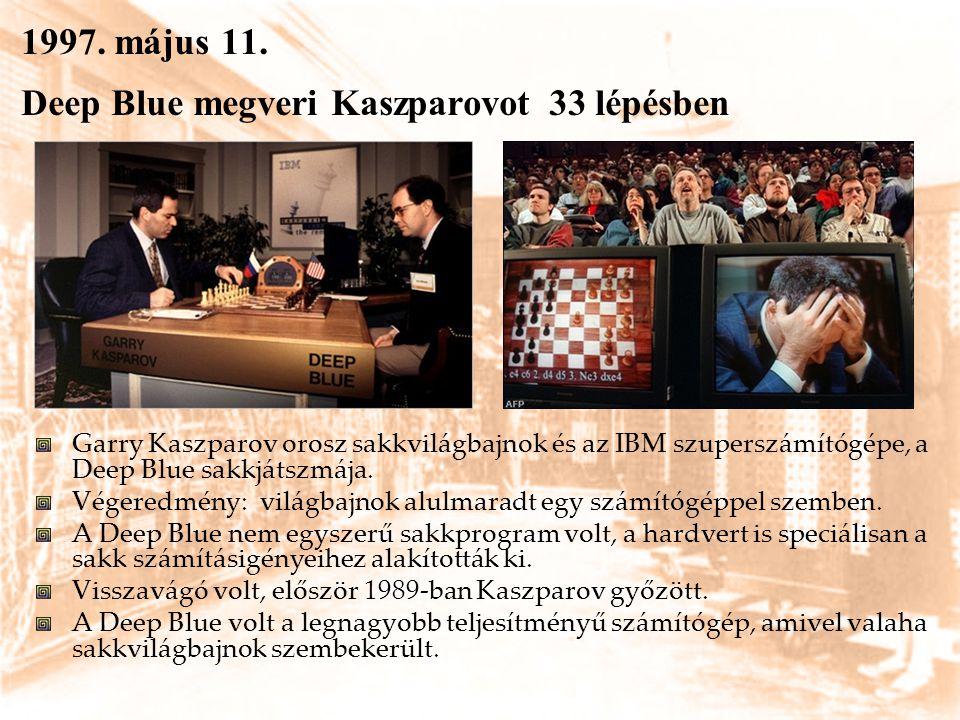 1997. május 11. Deep Blue megveri Kaszparovot 33 lépésben Garry Kaszparov orosz sakkvilágbajnok és az IBM szuperszámítógépe, a Deep Blue sakkjátszmája