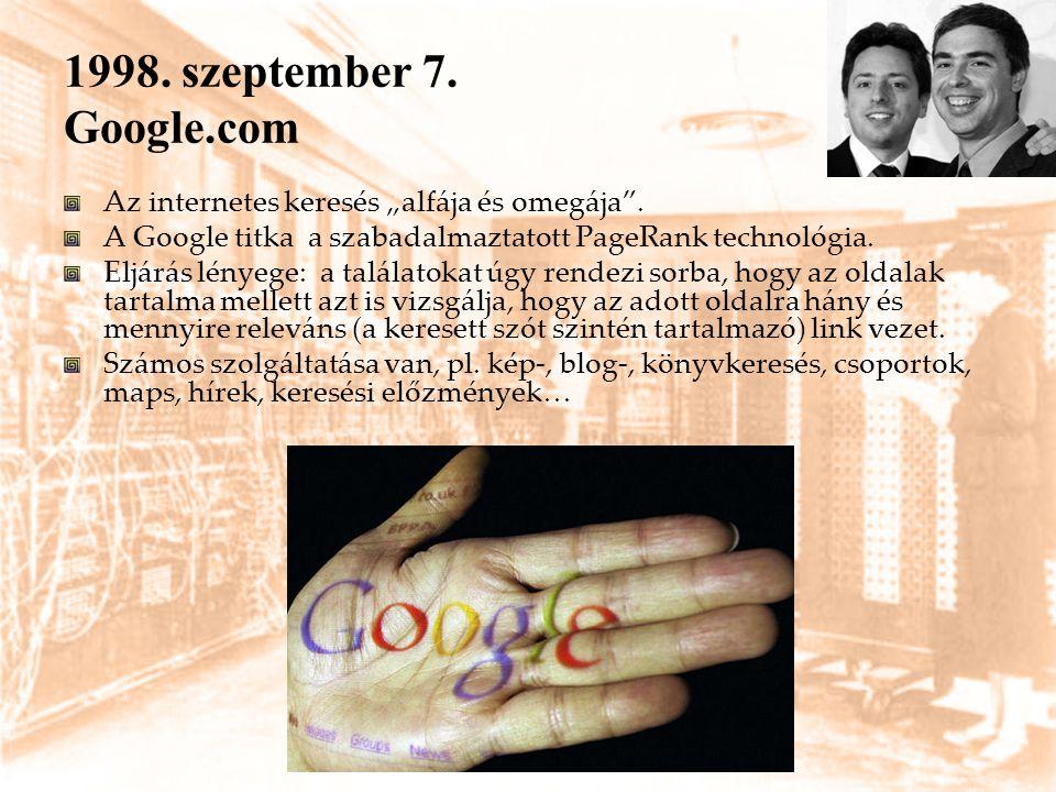 """1998. szeptember 7. Google.com Az internetes keresés """"alfája és omegája"""". A Google titka a szabadalmaztatott PageRank technológia. Eljárás lényege: a"""