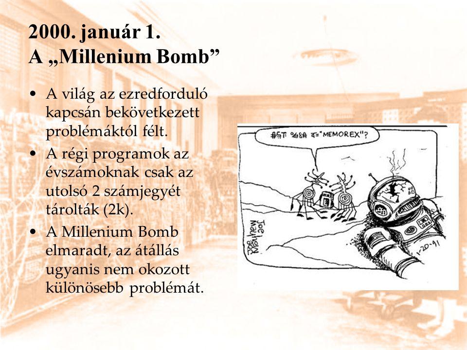 """2000. január 1. A """"Millenium Bomb"""" A világ az ezredforduló kapcsán bekövetkezett problémáktól félt. A régi programok az évszámoknak csak az utolsó 2 s"""