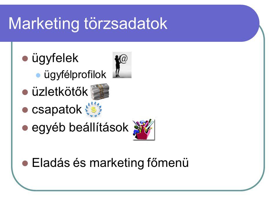 Marketing törzsadatok ügyfelek ügyfélprofilok üzletkötők csapatok egyéb beállítások Eladás és marketing főmenü