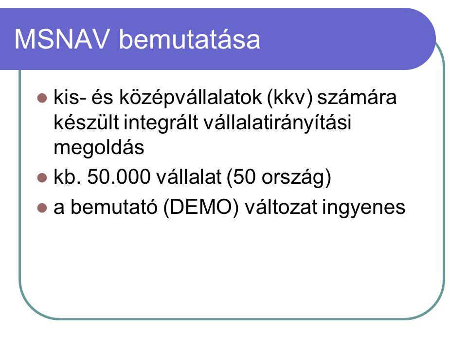 MSNAV moduljai Gazdálkodási folyamatokTermelésirányítási folyamatok Pénzügy-számvitel Humánerőforrás gazdálkodás Eszközgazdálkodás Gyártmány tervezés Gyártás Minőség-ellenőrzés Logisztikai folyamatok Döntéstámogatási folyamatok Értékesítés Beszerzés Készletgazdálkodás Ügyfélkapcsolat-kezelés (CRM) Kontrolling Stratégiai tervező rendszer Vezetői információs rendszer (MIS)