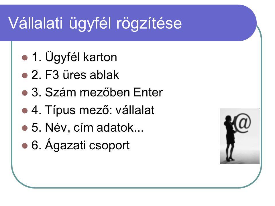 Vállalati ügyfél rögzítése 1. Ügyfél karton 2. F3 üres ablak 3. Szám mezőben Enter 4. Típus mező: vállalat 5. Név, cím adatok... 6. Ágazati csoport