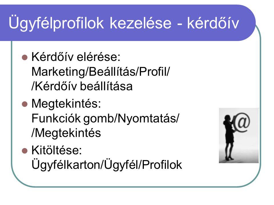 Ügyfélprofilok kezelése - kérdőív Kérdőív elérése: Marketing/Beállítás/Profil/ /Kérdőív beállítása Megtekintés: Funkciók gomb/Nyomtatás/ /Megtekintés