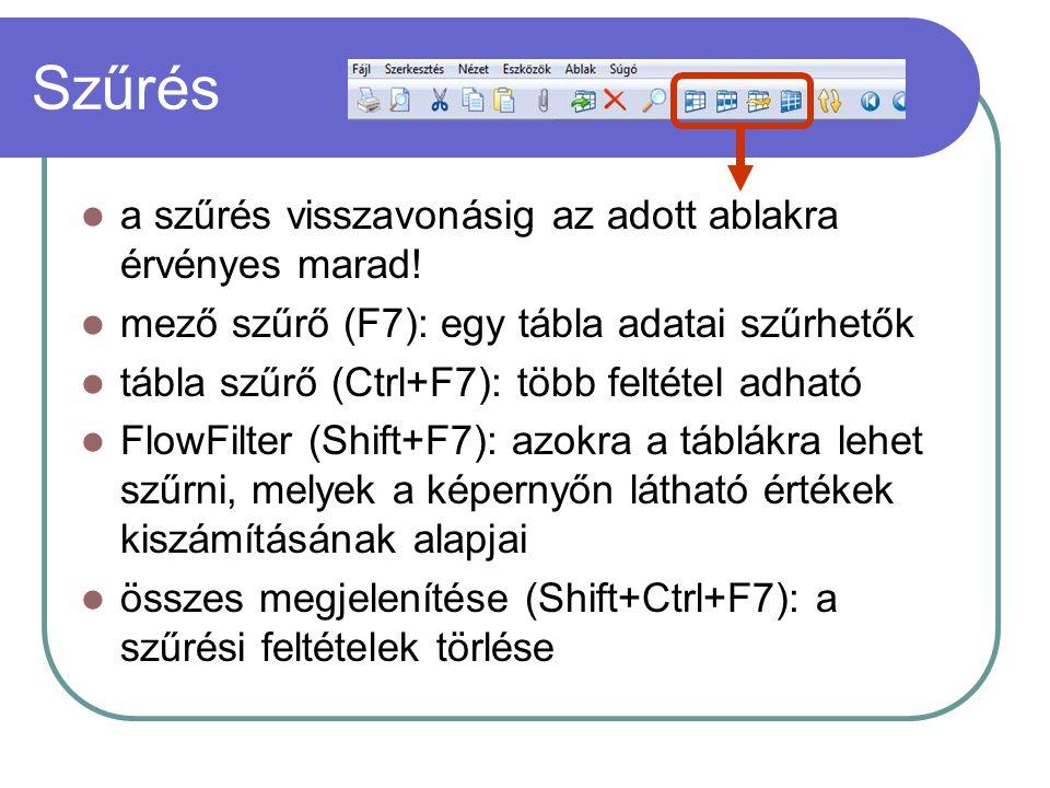 Szűrés a szűrés visszavonásig az adott ablakra érvényes marad! mező szűrő (F7): egy tábla adatai szűrhetők tábla szűrő (Ctrl+F7): több feltétel adható
