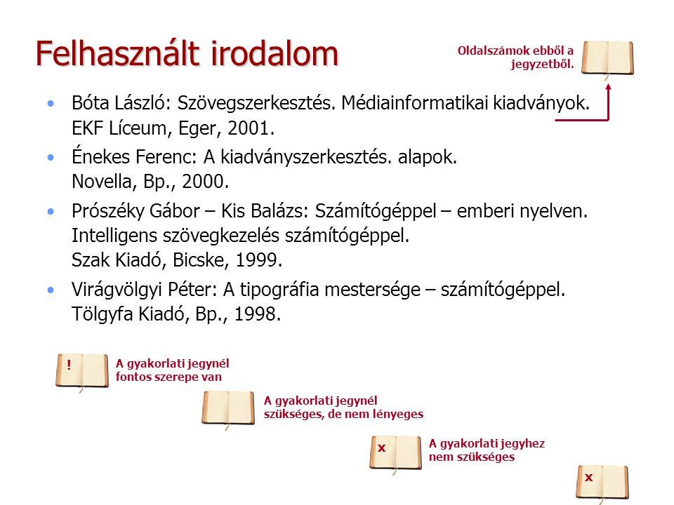 Felhasznált irodalom Bóta László: Szövegszerkesztés. Médiainformatikai kiadványok. EKF Líceum, Eger, 2001. Énekes Ferenc: A kiadványszerkesztés. alapo