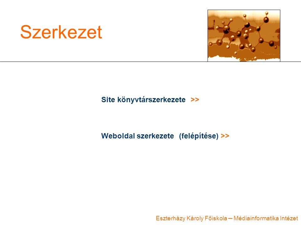 Eszterházy Károly Főiskola ─ Médiainformatika Intézet Szerkezet Site könyvtárszerkezete >> Weboldal szerkezete (felépítése) >>