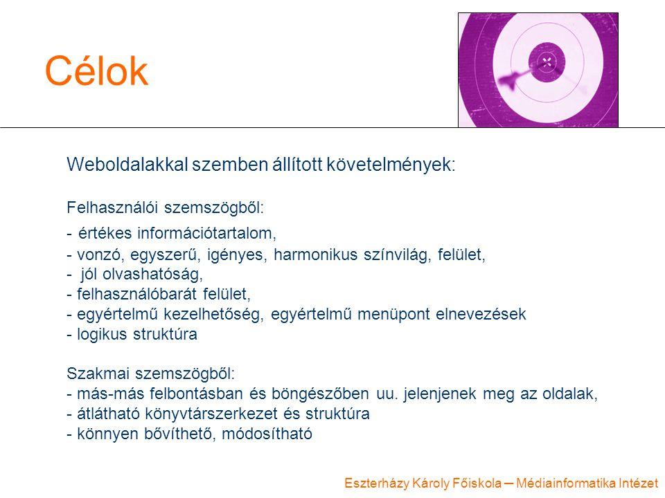 Eszterházy Károly Főiskola ─ Médiainformatika Intézet Célok Weboldalakkal szemben állított követelmények: Felhasználói szemszögből: - értékes informác