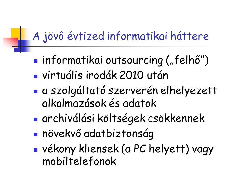 """A jövő évtized informatikai háttere informatikai outsourcing (""""felhő"""") virtuális irodák 2010 után a szolgáltató szerverén elhelyezett alkalmazások és"""