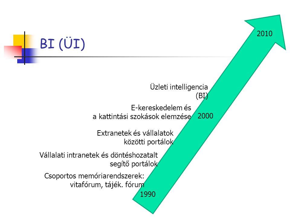 BI (ÜI) Csoportos memóriarendszerek: vitafórum, tájék. fórum Vállalati intranetek és döntéshozatalt segítő portálok Extranetek és vállalatok közötti p