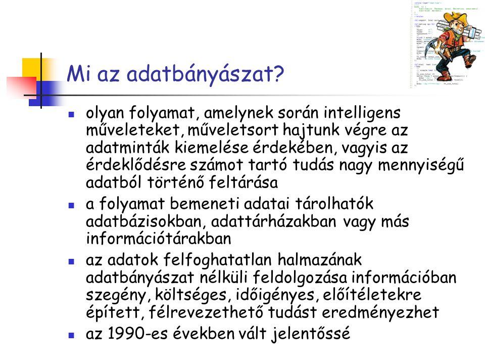 Mi az adatbányászat? olyan folyamat, amelynek során intelligens műveleteket, műveletsort hajtunk végre az adatminták kiemelése érdekében, vagyis az ér