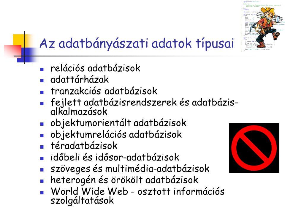 Az adatbányászati adatok típusai relációs adatbázisok adattárházak tranzakciós adatbázisok fejlett adatbázisrendszerek és adatbázis- alkalmazások obje