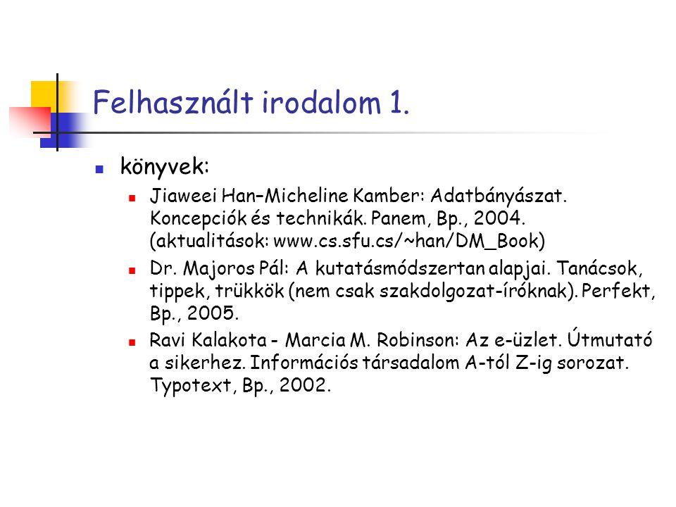 Felhasznált irodalom 1. könyvek: Jiaweei Han–Micheline Kamber: Adatbányászat. Koncepciók és technikák. Panem, Bp., 2004. (aktualitások: www.cs.sfu.cs/