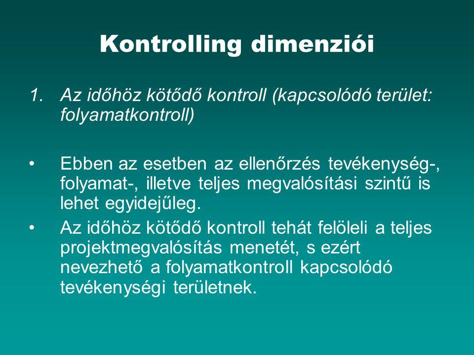 Kontrolling dimenziói 1.Az időhöz kötődő kontroll (kapcsolódó terület: folyamatkontroll) Ebben az esetben az ellenőrzés tevékenység-, folyamat-, illet