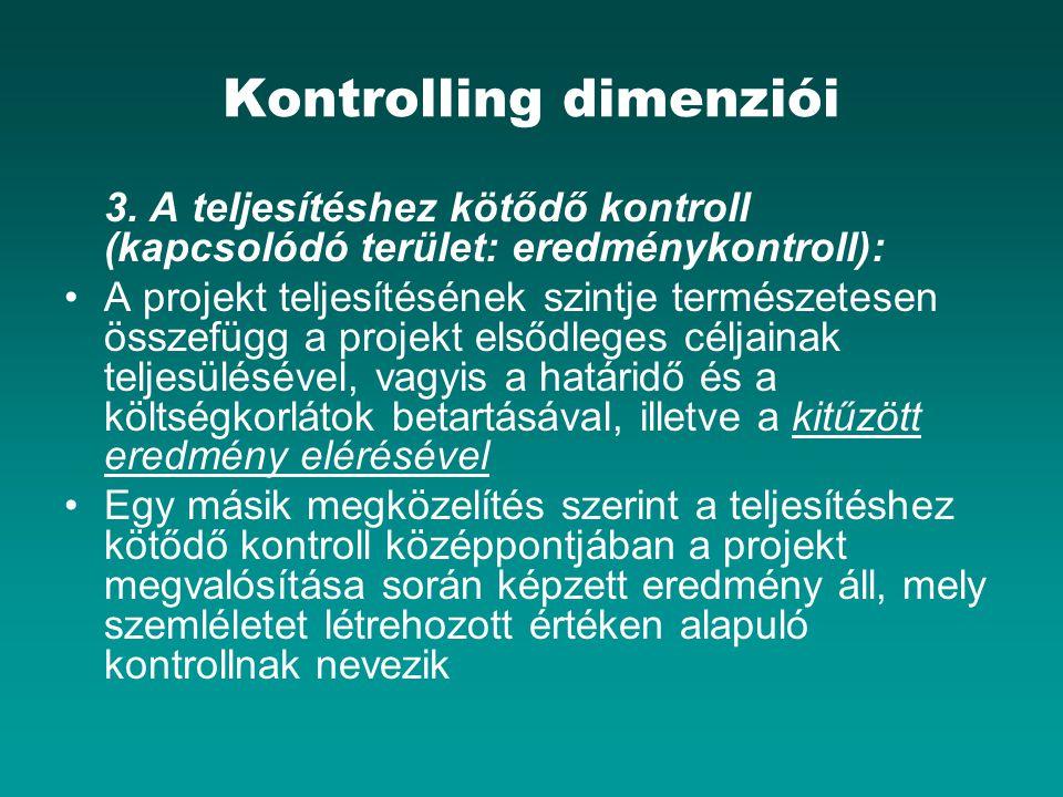 Kontrolling dimenziói 3. A teljesítéshez kötődő kontroll (kapcsolódó terület: eredménykontroll): A projekt teljesítésének szintje természetesen összef