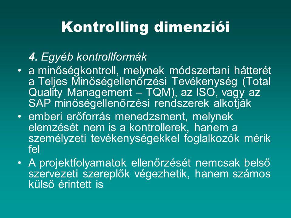 Kontrolling dimenziói 4. Egyéb kontrollformák a minőségkontroll, melynek módszertani hátterét a Teljes Minőségellenőrzési Tevékenység (Total Quality M
