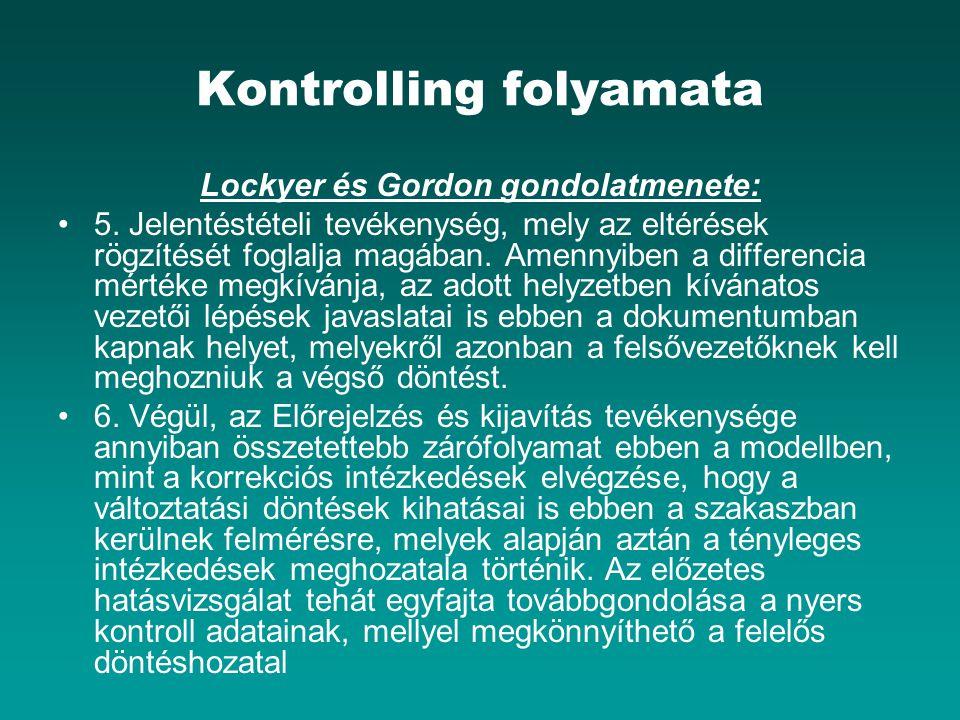 Kontrolling folyamata Lockyer és Gordon gondolatmenete: 5. Jelentéstételi tevékenység, mely az eltérések rögzítését foglalja magában. Amennyiben a dif