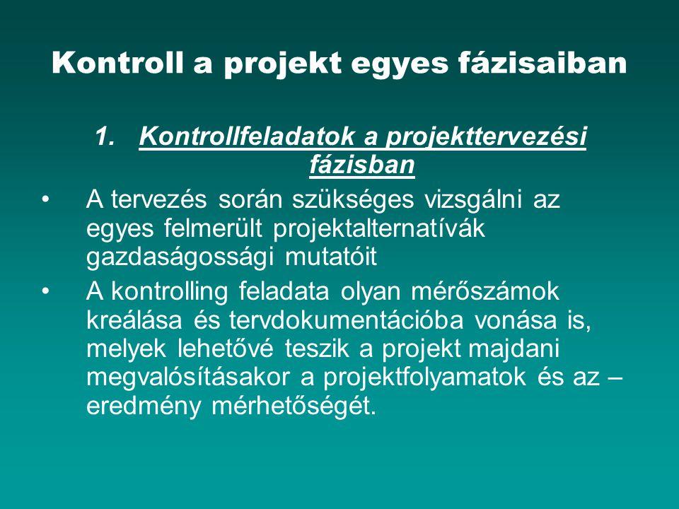Kontroll a projekt egyes fázisaiban 1.Kontrollfeladatok a projekttervezési fázisban A tervezés során szükséges vizsgálni az egyes felmerült projektalt