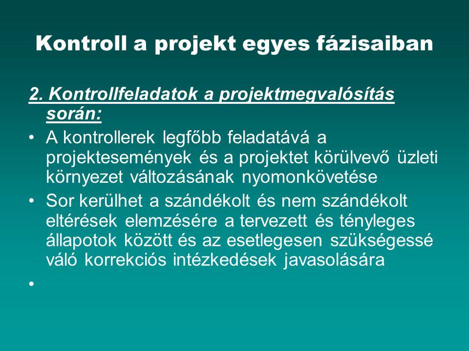 Kontroll a projekt egyes fázisaiban 2. Kontrollfeladatok a projektmegvalósítás során: A kontrollerek legfőbb feladatává a projektesemények és a projek