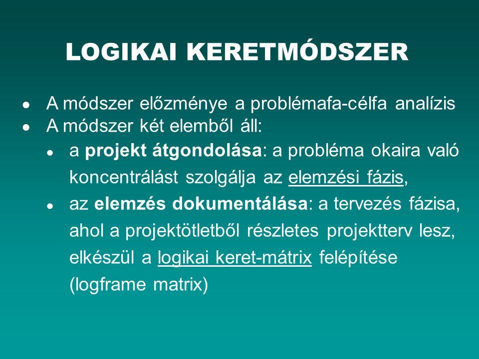A logikai keretmódszer középpontjában a logikai keret- mátrix áll.
