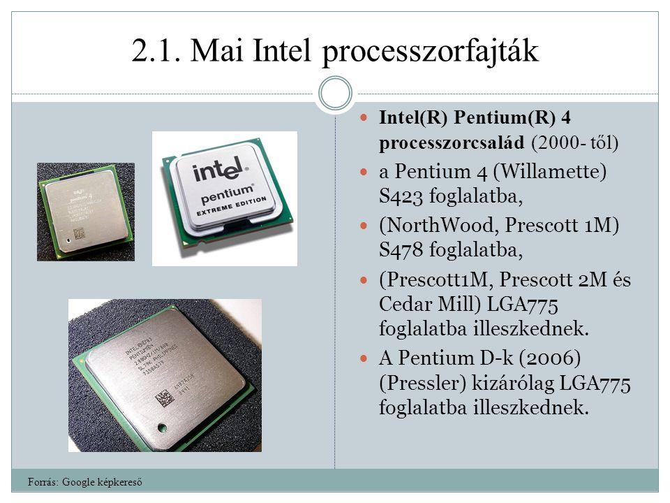 2.1. Mai Intel processzorfajták Intel(R) Pentium(R) 4 processzorcsalád (2000- től) a Pentium 4 (Willamette) S423 foglalatba, (NorthWood, Prescott 1M)