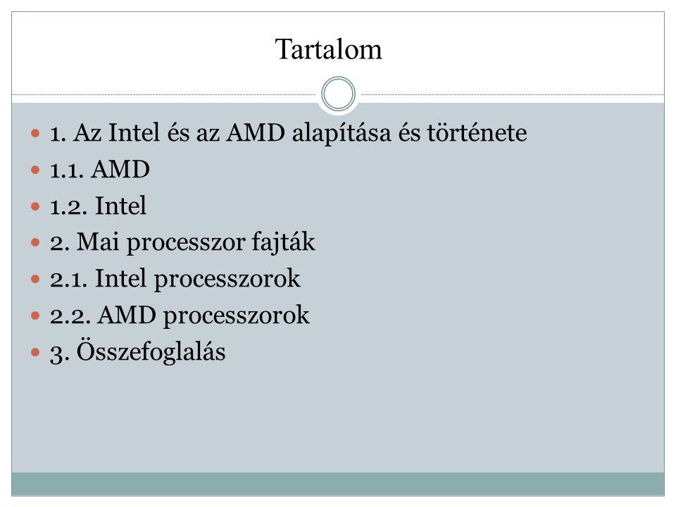 1.Az Intel és az AMD alapítása és története 1.1. AMD 1.2.