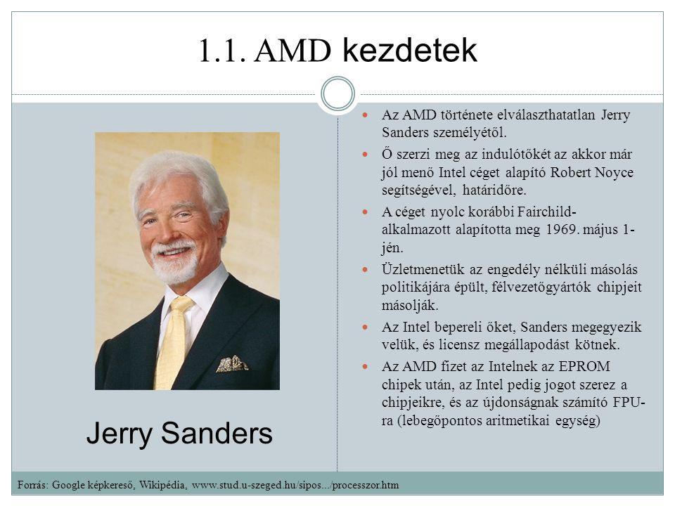 1.1.AMD kezdetek Az AMD története elválaszthatatlan Jerry Sanders személyétől.