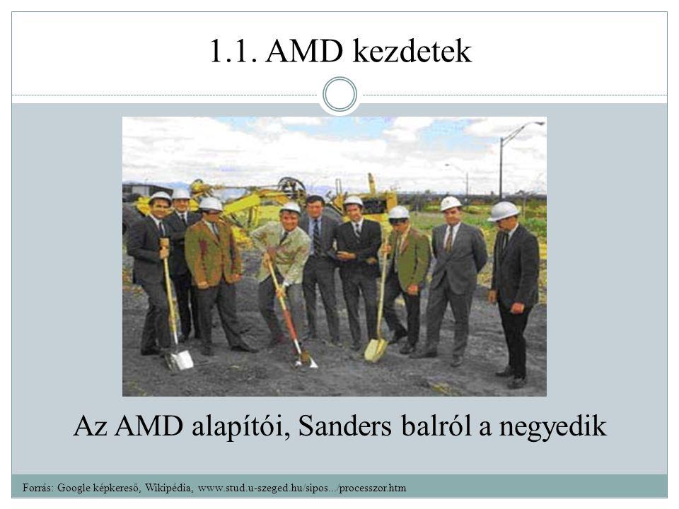 1.1. AMD kezdetek Az AMD alapítói, Sanders balról a negyedik Forrás: Google képkereső, Wikipédia, www.stud.u-szeged.hu/sipos.../processzor.htm