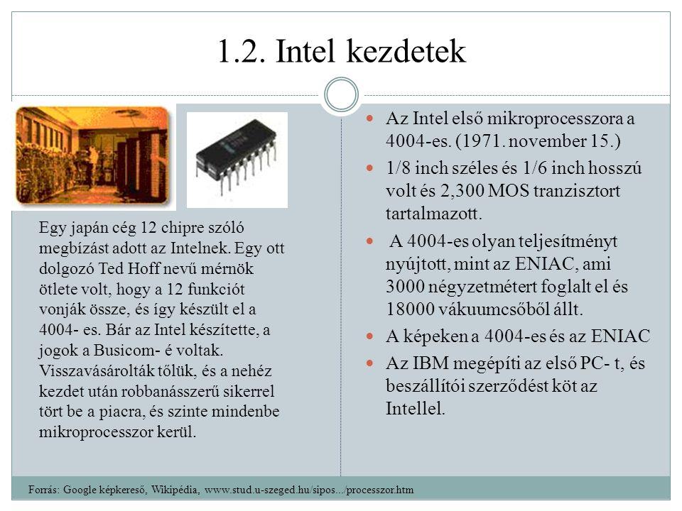 1.2.Intel kezdetek Az Intel első mikroprocesszora a 4004-es.