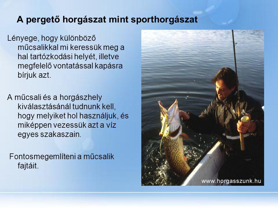 A pergető horgászat mint sporthorgászat Lényege, hogy különböző műcsalikkal mi keressük meg a hal tartózkodási helyét, illetve megfelelő vontatással k