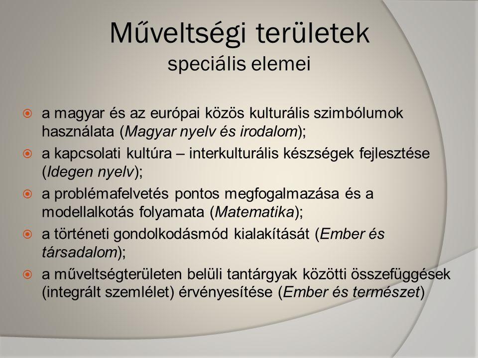Műveltségi területek speciális elemei  a magyar és az európai közös kulturális szimbólumok használata (Magyar nyelv és irodalom);  a kapcsolati kultúra – interkulturális készségek fejlesztése (Idegen nyelv);  a problémafelvetés pontos megfogalmazása és a modellalkotás folyamata (Matematika);  a történeti gondolkodásmód kialakítását (Ember és társadalom);  a műveltségterületen belüli tantárgyak közötti összefüggések (integrált szemlélet) érvényesítése (Ember és természet)