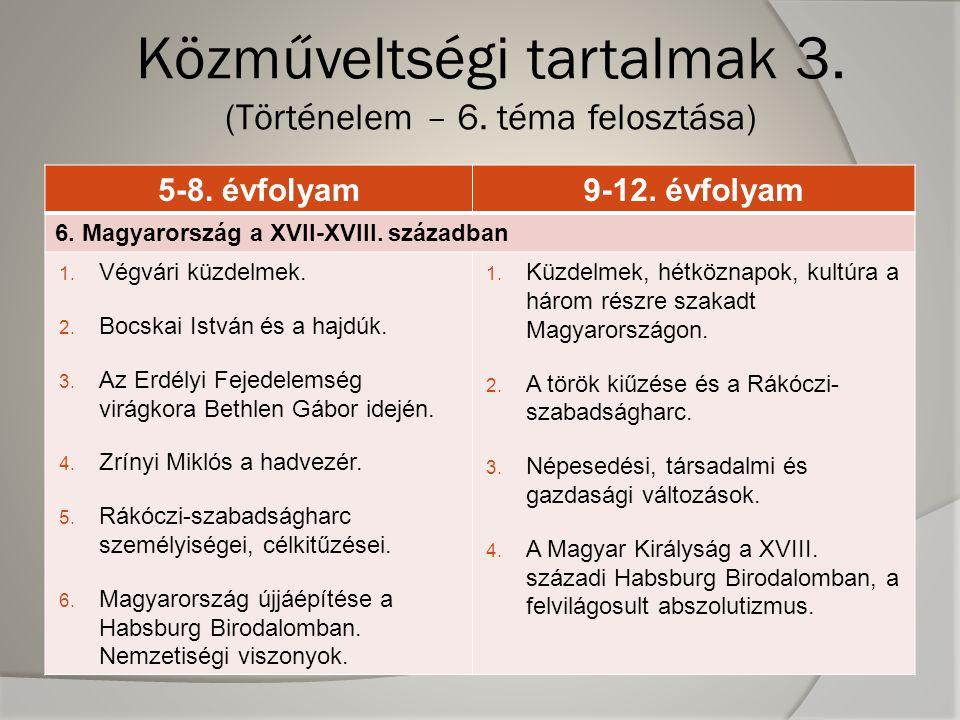 5-8.évfolyam9-12. évfolyam 6. Magyarország a XVII-XVIII.