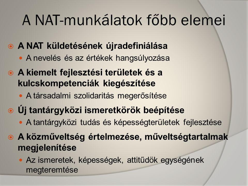 A NAT-munkálatok főbb elemei  A NAT küldetésének újradefiniálása A nevelés és az értékek hangsúlyozása  A kiemelt fejlesztési területek és a kulcskompetenciák kiegészítése A társadalmi szolidaritás megerősítése  Új tantárgyközi ismeretkörök beépítése A tantárgyközi tudás és képességterületek fejlesztése  A közműveltség értelmezése, műveltségtartalmak megjelenítése Az ismeretek, képességek, attitűdök egységének megteremtése