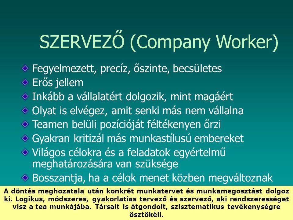 HEFOP 3.3.1. SZERVEZŐ (Company Worker) Fegyelmezett, precíz, őszinte, becsületes Erős jellem Inkább a vállalatért dolgozik, mint magáért Olyat is elvé