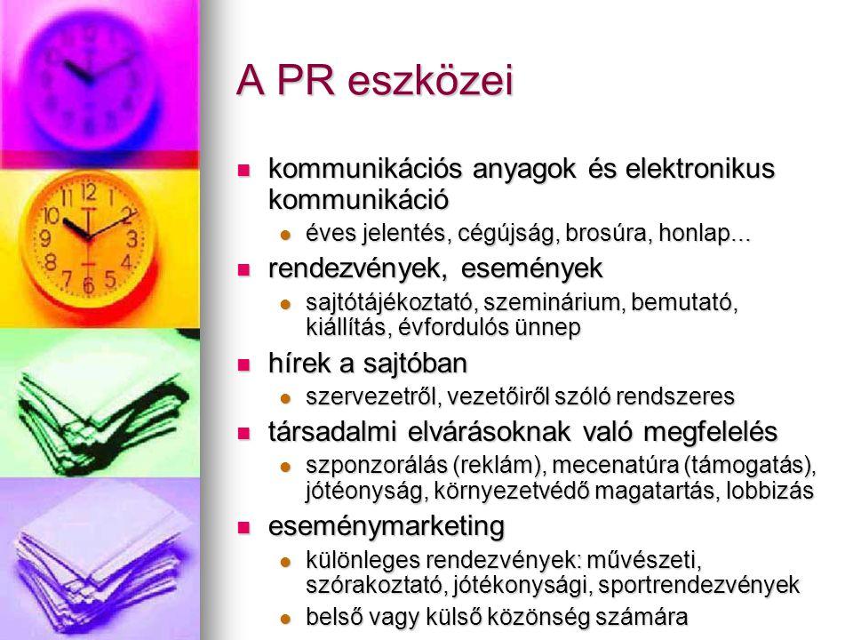 A PR eszközei kommunikációs anyagok és elektronikus kommunikáció kommunikációs anyagok és elektronikus kommunikáció éves jelentés, cégújság, brosúra,