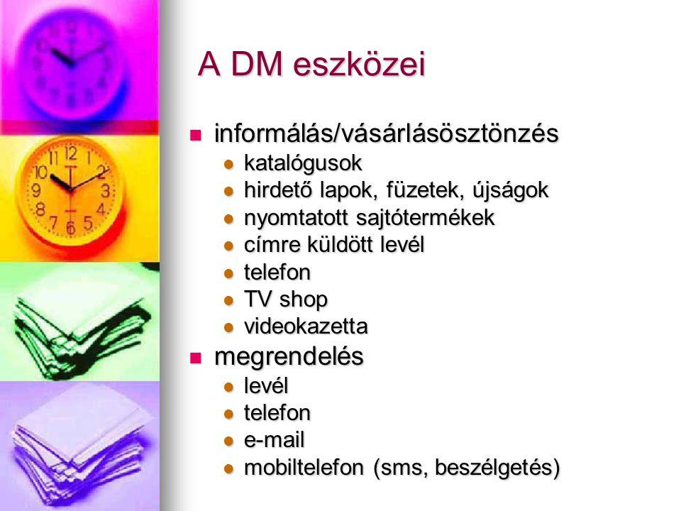 A DM eszközei A DM eszközei informálás/vásárlásösztönzés informálás/vásárlásösztönzés katalógusok katalógusok hirdető lapok, füzetek, újságok hirdető