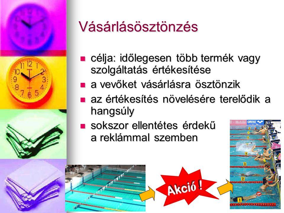 Vásárlásösztönzés célja: időlegesen több termék vagy szolgáltatás értékesítése célja: időlegesen több termék vagy szolgáltatás értékesítése a vevőket