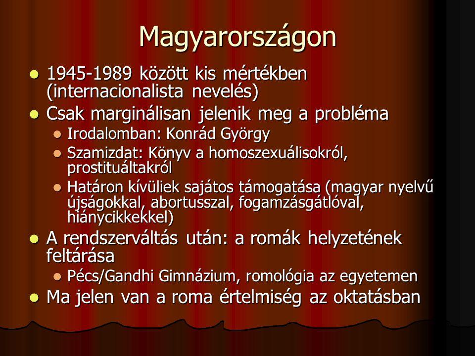Magyarországon 1945-1989 között kis mértékben (internacionalista nevelés) 1945-1989 között kis mértékben (internacionalista nevelés) Csak marginálisan jelenik meg a probléma Csak marginálisan jelenik meg a probléma Irodalomban: Konrád György Irodalomban: Konrád György Szamizdat: Könyv a homoszexuálisokról, prostituáltakról Szamizdat: Könyv a homoszexuálisokról, prostituáltakról Határon kívüliek sajátos támogatása (magyar nyelvű újságokkal, abortusszal, fogamzásgátlóval, hiánycikkekkel) Határon kívüliek sajátos támogatása (magyar nyelvű újságokkal, abortusszal, fogamzásgátlóval, hiánycikkekkel) A rendszerváltás után: a romák helyzetének feltárása A rendszerváltás után: a romák helyzetének feltárása Pécs/Gandhi Gimnázium, romológia az egyetemen Pécs/Gandhi Gimnázium, romológia az egyetemen Ma jelen van a roma értelmiség az oktatásban Ma jelen van a roma értelmiség az oktatásban