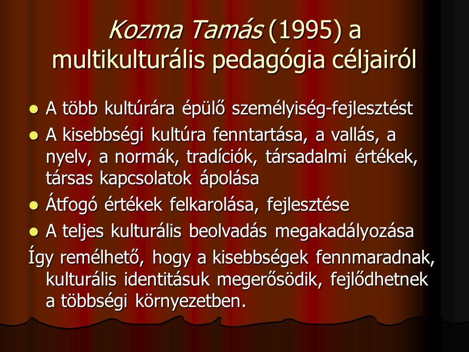 Kozma Tamás (1995) a multikulturális pedagógia céljairól A több kultúrára épülő személyiség-fejlesztést A több kultúrára épülő személyiség-fejlesztést A kisebbségi kultúra fenntartása, a vallás, a nyelv, a normák, tradíciók, társadalmi értékek, társas kapcsolatok ápolása A kisebbségi kultúra fenntartása, a vallás, a nyelv, a normák, tradíciók, társadalmi értékek, társas kapcsolatok ápolása Átfogó értékek felkarolása, fejlesztése Átfogó értékek felkarolása, fejlesztése A teljes kulturális beolvadás megakadályozása A teljes kulturális beolvadás megakadályozása Így remélhető, hogy a kisebbségek fennmaradnak, kulturális identitásuk megerősödik, fejlődhetnek a többségi környezetben.
