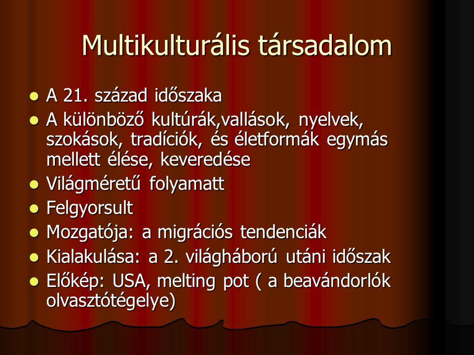Multikulturális társadalom A 21.század időszaka A 21.