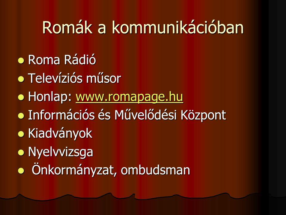 Romák a kommunikációban Roma Rádió Roma Rádió Televíziós műsor Televíziós műsor Honlap: www.romapage.hu Honlap: www.romapage.huwww.romapage.hu Információs és Művelődési Központ Információs és Művelődési Központ Kiadványok Kiadványok Nyelvvizsga Nyelvvizsga Önkormányzat, ombudsman Önkormányzat, ombudsman